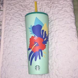 Starbucks Teal Hibiscus Stainless Tumbler 24 oz